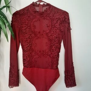 Floral lace and mesh bodysuit